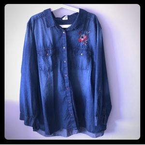 Plus size denim shirt with beautiful embroidery